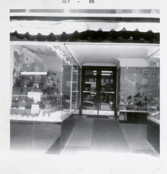 Bowman Shoe's Front Windows, June 15, 1965